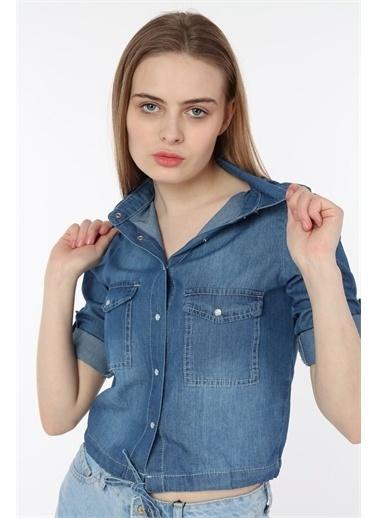 Rodi Jeans Kadın Bağlamalı Krop Denim Gömlek DS21YB033460 Mavi